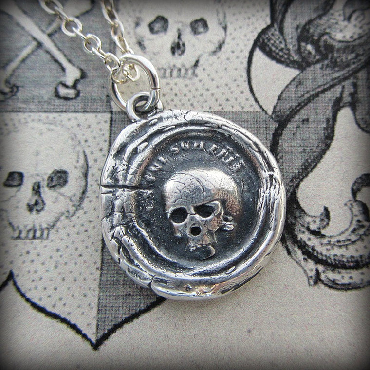 Skull Wax Seal Necklace - Es Fui, Sum Eris - Shannon Westmeyer Jewelry - 1