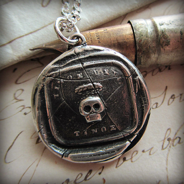 Memento Mori Skull - Salvaged Seal from the early 1800's - Shannon Westmeyer Jewelry - 1