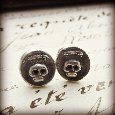 Tiny Skull Wax Seal Stud Earrings - Shannon Westmeyer Jewelry - 3