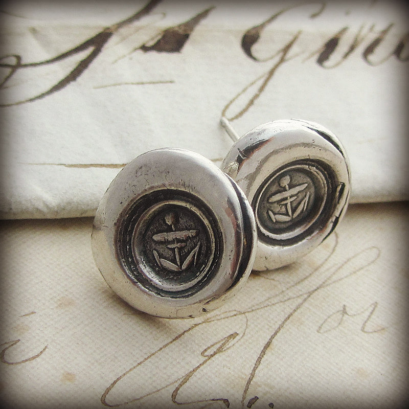 Small Anchor Wax Seal Post Earrings
