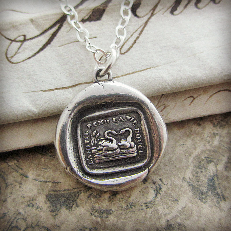 Friendship Makes Life Sweet Wax Seal Necklace