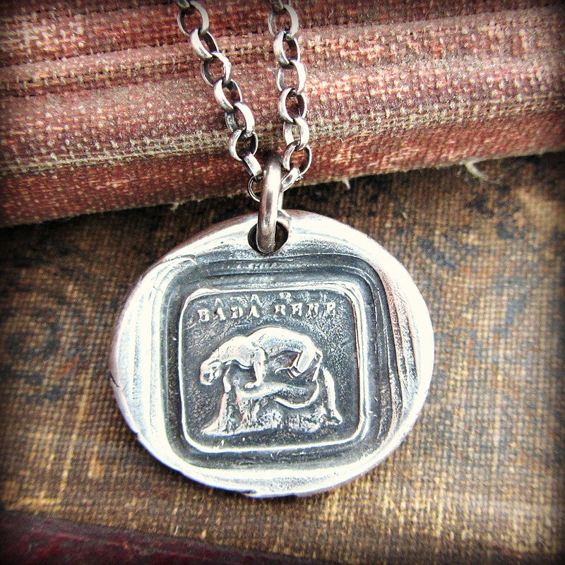Take Heed Cougar Wax Seal Necklace - watchful and protective - Someone to watch over me - Shannon Westmeyer Jewelry - 1