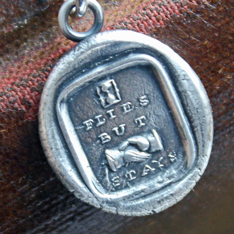 Friendship Wax Seal Necklace - Time Flies but the Friendship Stays - Victorian Picture Reubus - Shannon Westmeyer Jewelry - 1