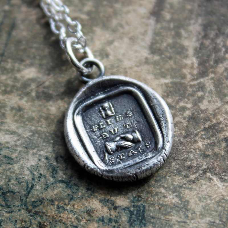 Friendship Wax Seal Necklace - Time Flies but the Friendship Stays - Victorian Picture Reubus - Shannon Westmeyer Jewelry - 2