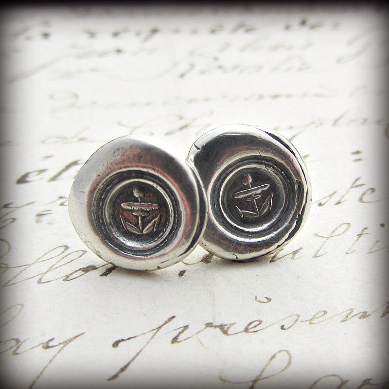 Small Anchor Wax Seal Post Earrings - Shannon Westmeyer Jewelry - 1