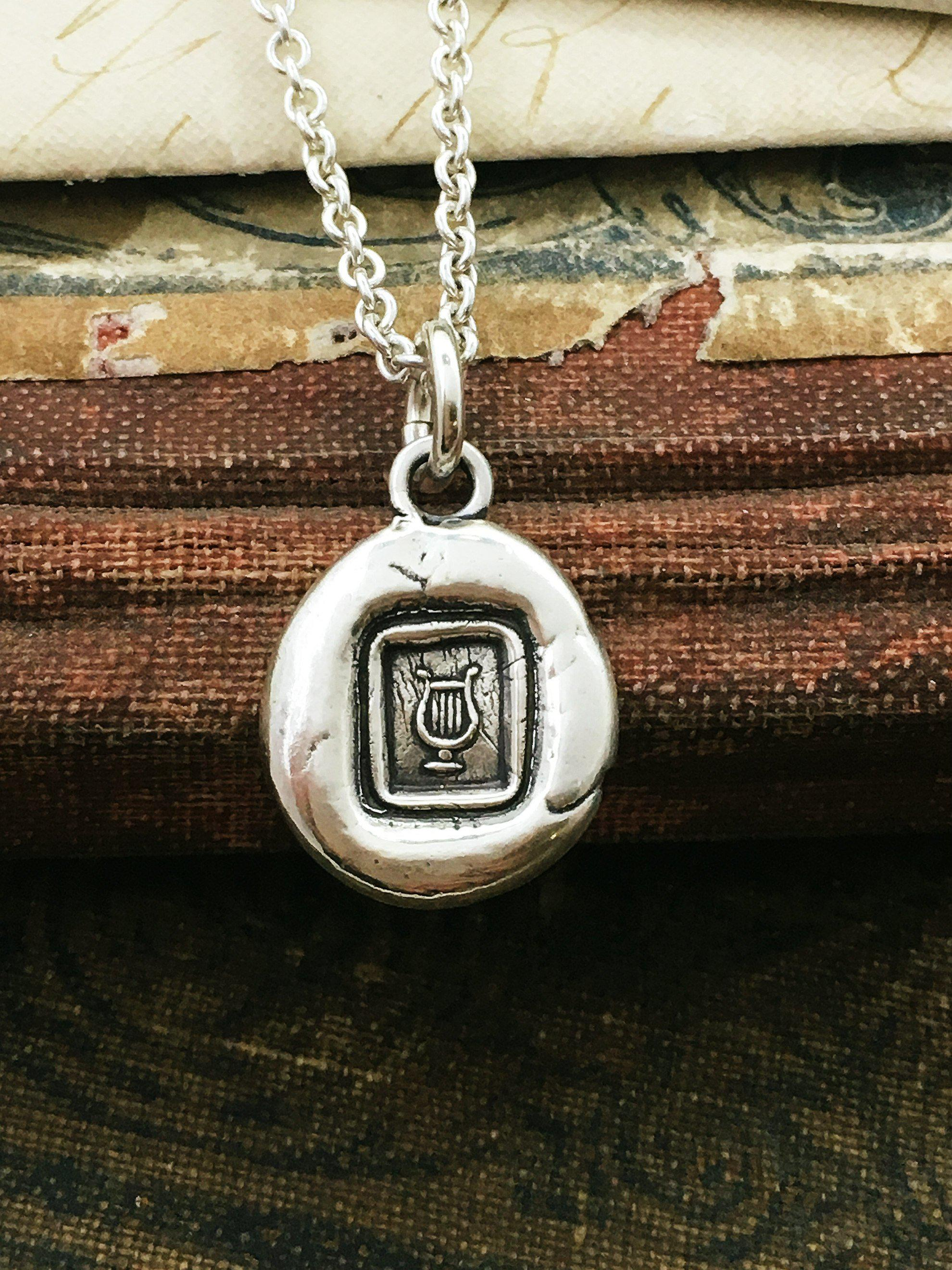 Tiny Lyre of Hermes Petite Wax Seal Necklace