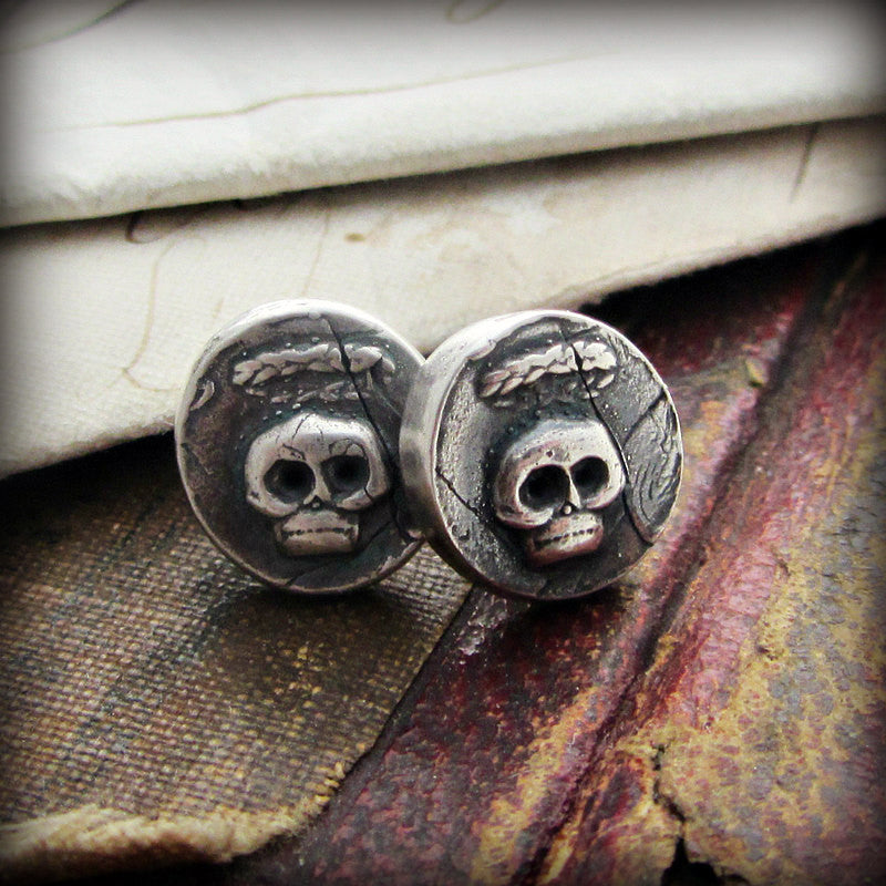 Tiny Skull Wax Seal Stud Earrings - Shannon Westmeyer Jewelry - 1