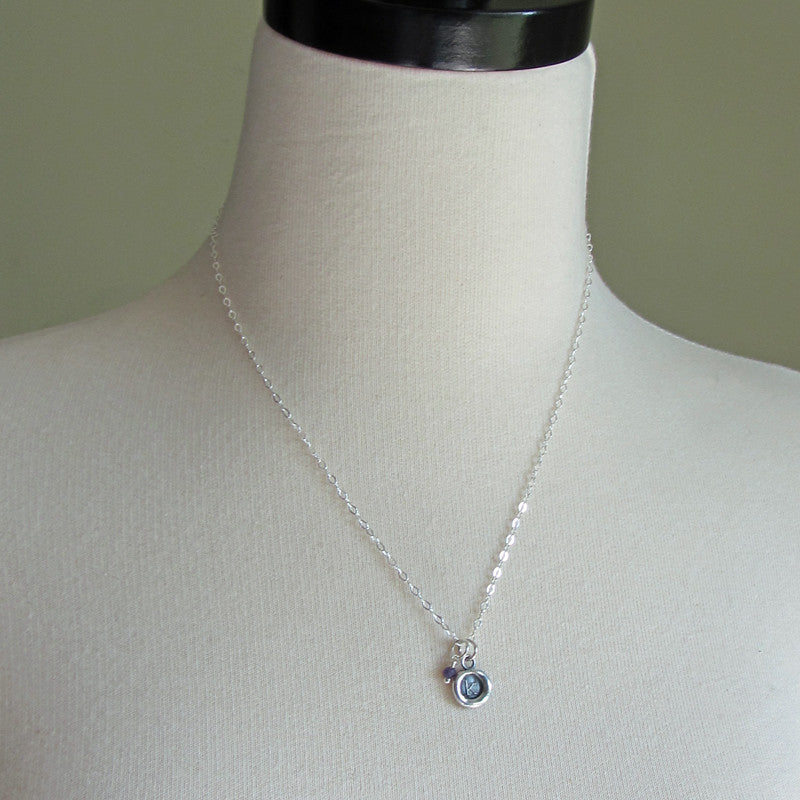 Silver Initial Wax Seal Necklace with Semiprecious Stone - Shannon Westmeyer Jewelry - 4