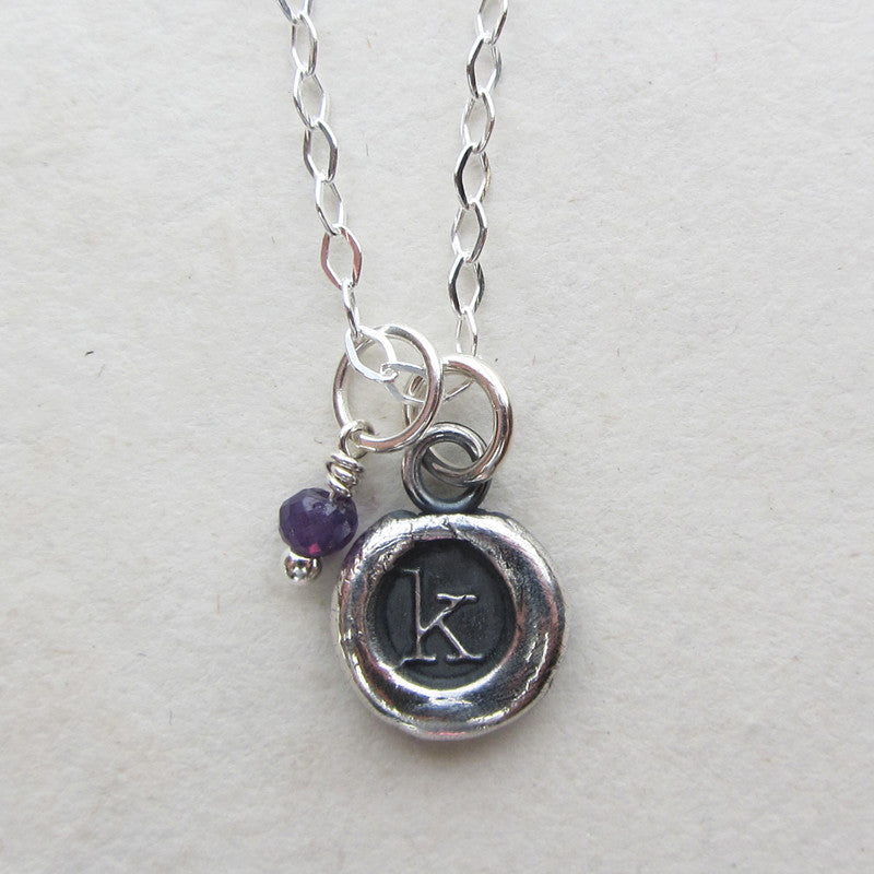 Silver Initial Wax Seal Necklace with Semiprecious Stone - Shannon Westmeyer Jewelry - 3