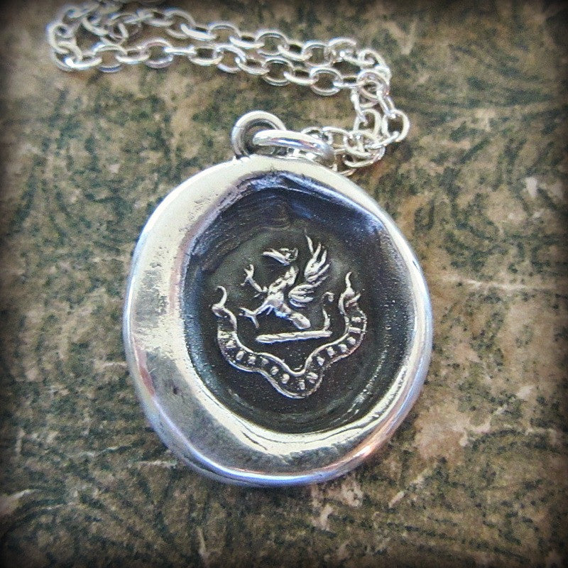 Courage in Difficulties silver wax seal necklace