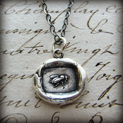 Vintage Honey Bee Wax Seal Necklace - Shannon Westmeyer Jewelry - 5