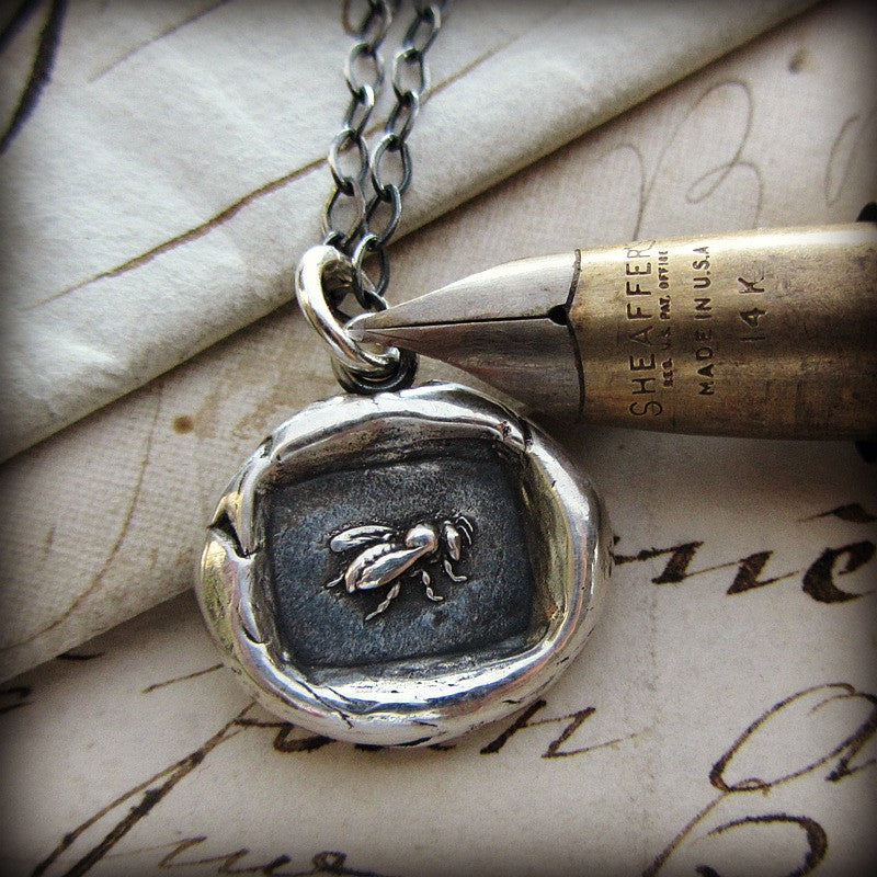 Vintage Honey Bee Wax Seal Necklace