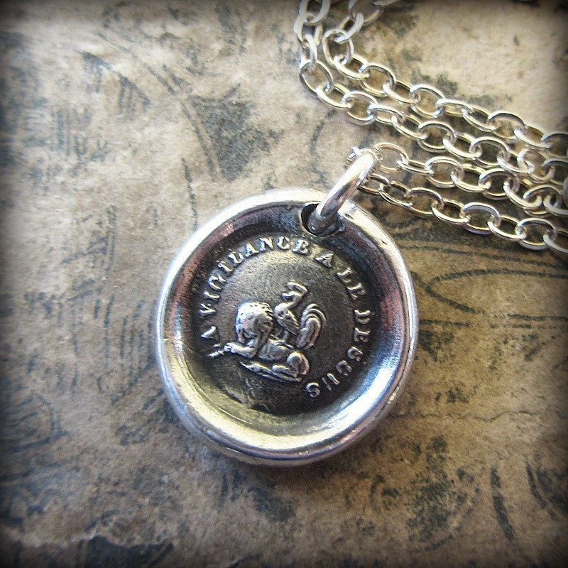 Vigilance Wins Wax Seal Necklace - Rooster atop a Lion - Keep Your Eye On The Prize - Shannon Westmeyer Jewelry - 3