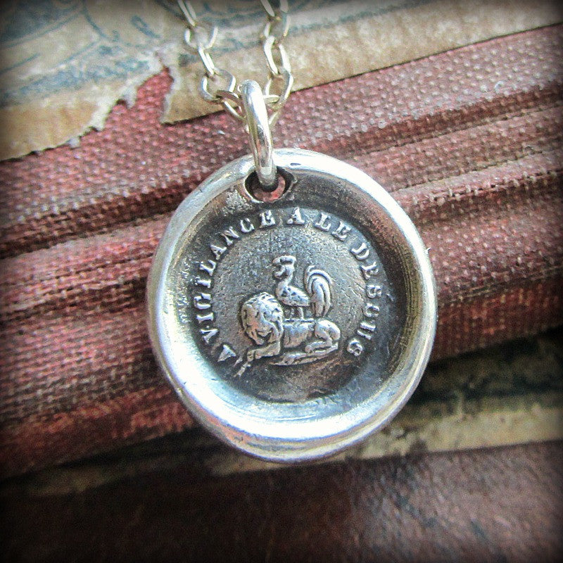 Vigilance Wins Wax Seal Necklace - Rooster atop a Lion - Keep Your Eye On The Prize - Shannon Westmeyer Jewelry - 1