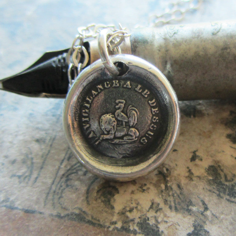 Vigilance Wins Wax Seal Necklace - Rooster atop a Lion - Keep Your Eye On The Prize - Shannon Westmeyer Jewelry - 2
