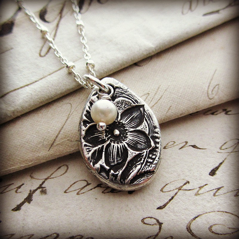 Vintage Flower Imprint Charm Necklace - Shannon Westmeyer Jewelry - 2