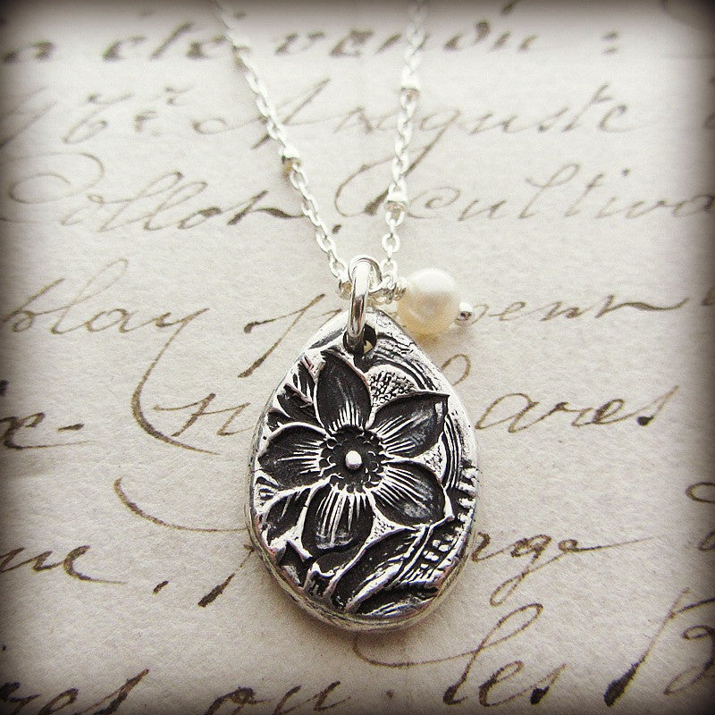 Vintage Flower Imprint Charm Necklace - Shannon Westmeyer Jewelry - 3