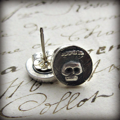 Tiny Skull Wax Seal Stud Earrings - Shannon Westmeyer Jewelry - 4