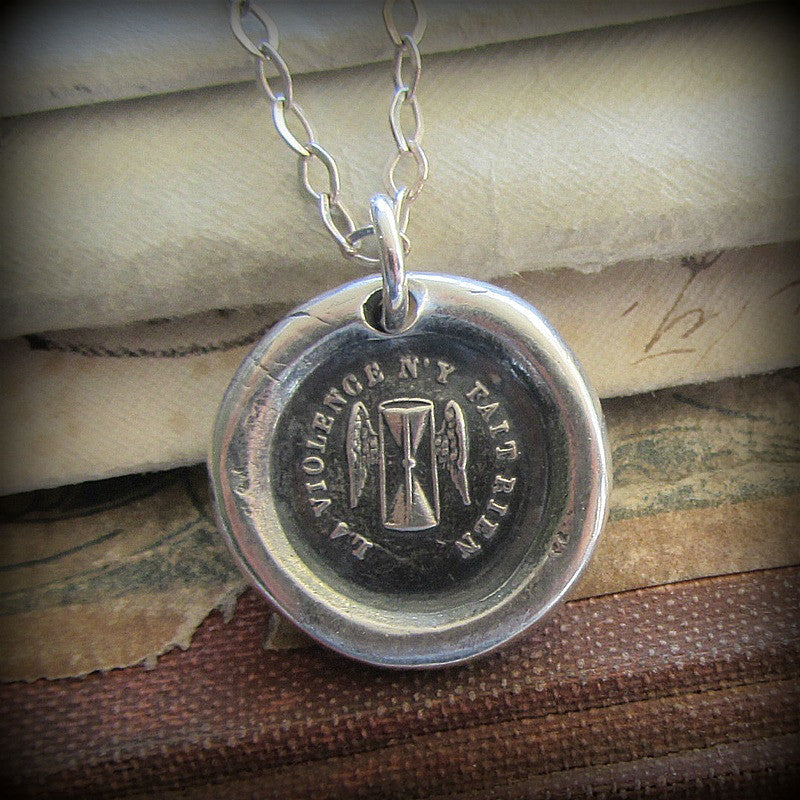 Time Wax Seal Necklace You Can/'t Fight Time FP385 Winged Hourglass