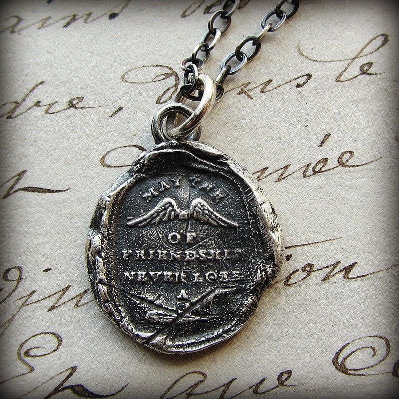May the Wings of Friendship Never Lose a Feather Wax Seal Necklace - Victorian Picture Rebus