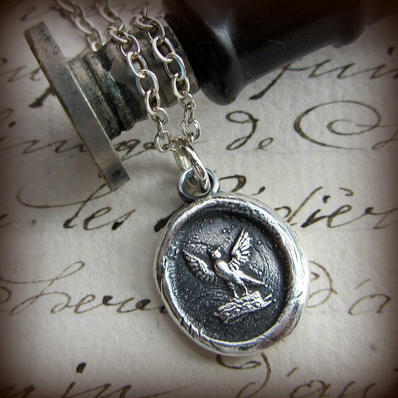 Watchful Protector - Owl Wax Seal Necklace - Shannon Westmeyer Jewelry - 1