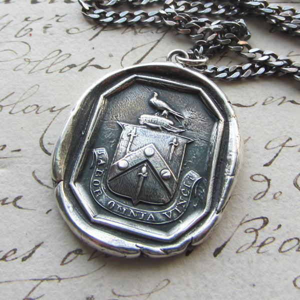 Hard Work Conquers Everything Wax Seal Crest Pendant- Latin motto Labor Omnia Vincet - Shannon Westmeyer Jewelry - 1