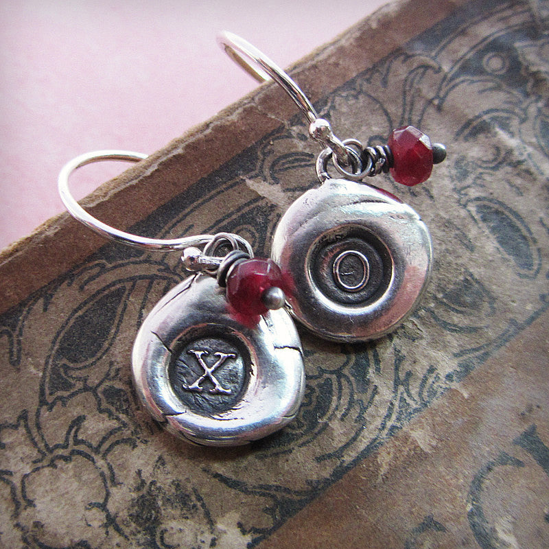 XO Hugs and Kisses Wax Seal Earrings