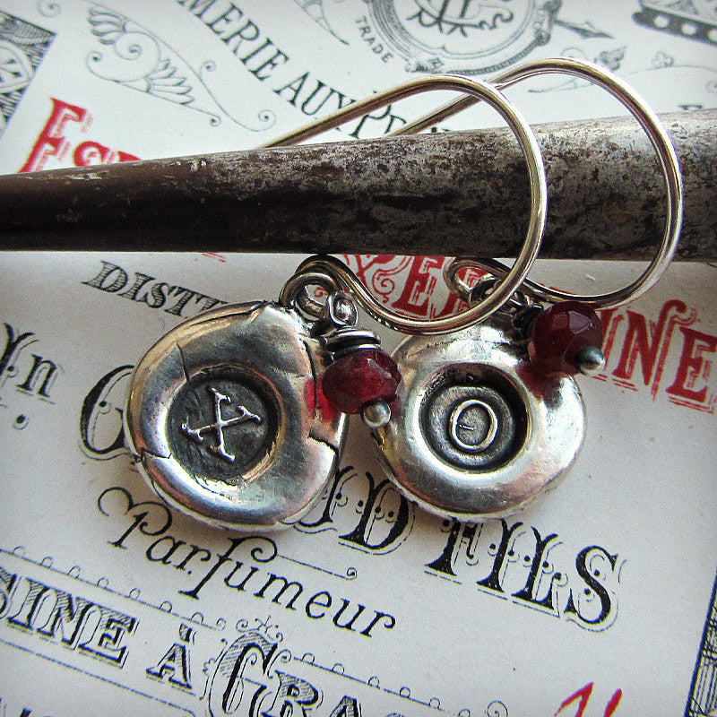 Hugs and Kisses Silver Gemstone Earrings