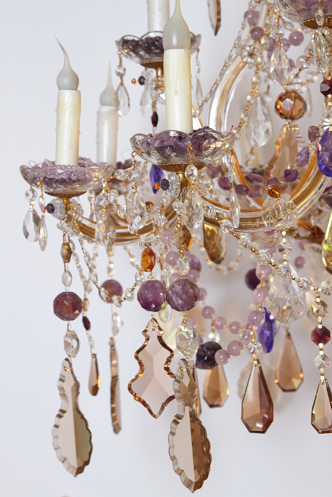 Custom Crystal and Amethyst Chandelier