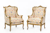 Pair of 19th Century Carved Walnut French Armchair