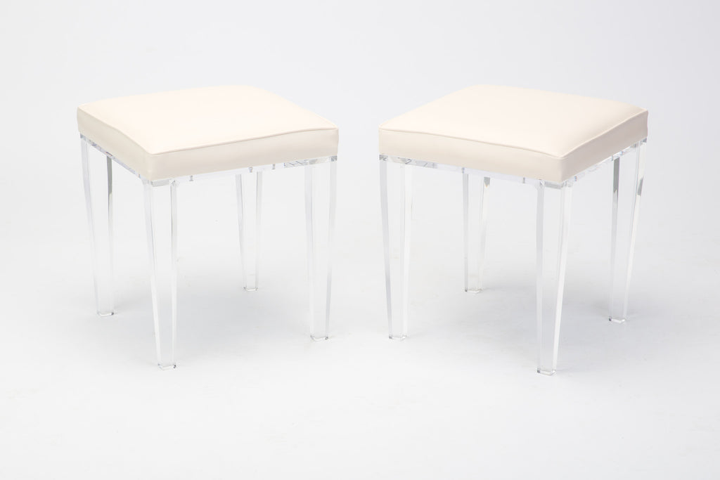Pair Of White Leather And Acrylic Vanity Stool
