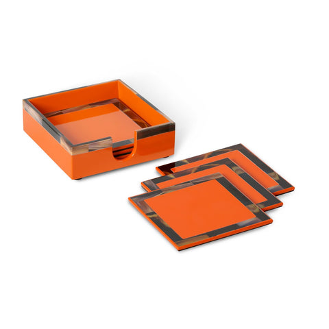 CHEVAL COASTERS WITH COASTER HOLDER, ORANGE