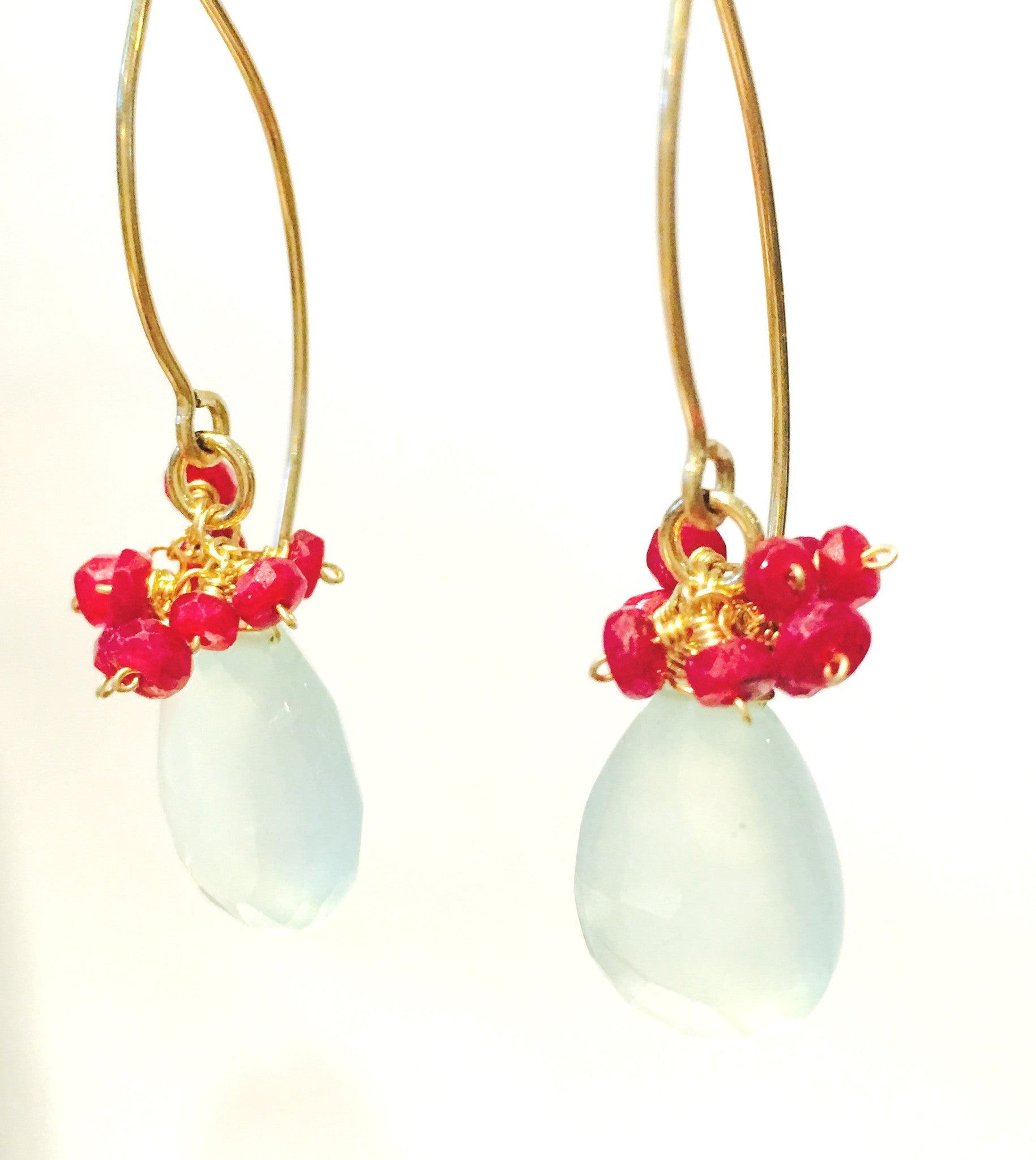 Chalcedony and Ruby Earrings
