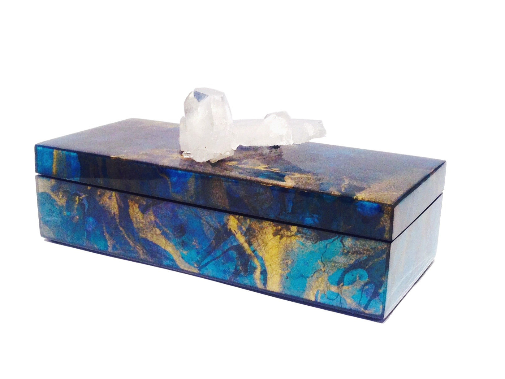 Metallic Marbleized Lacquer Box With Quartz