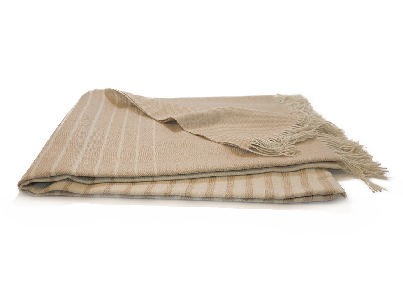 Cream Striped Alpaca Throw Blanket