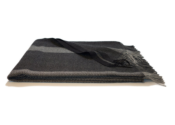 Dark Gray Stripe Alpaca Throw Blanket