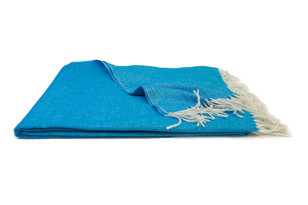 Electric Blue Alpaca Throw Blanket