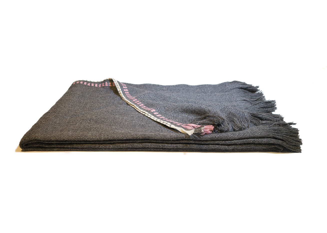 Grey and Pink Alpaca Throw Blanket