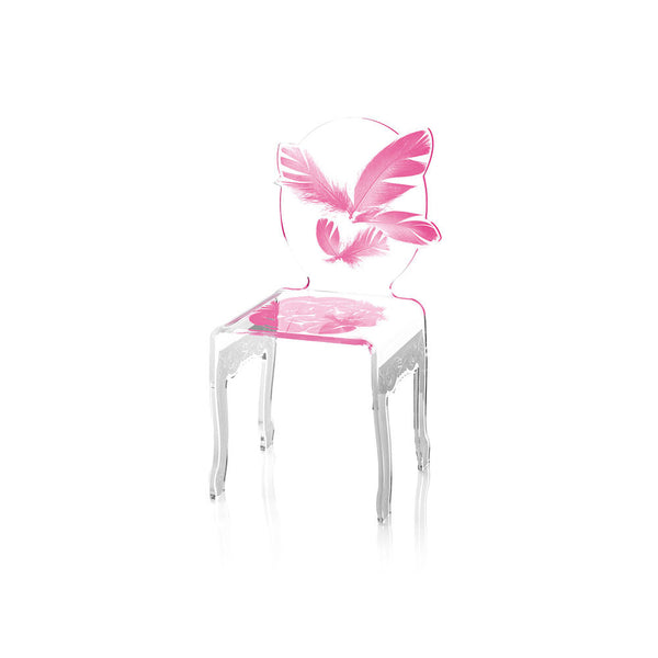 Pink Feather Acrylic Chair