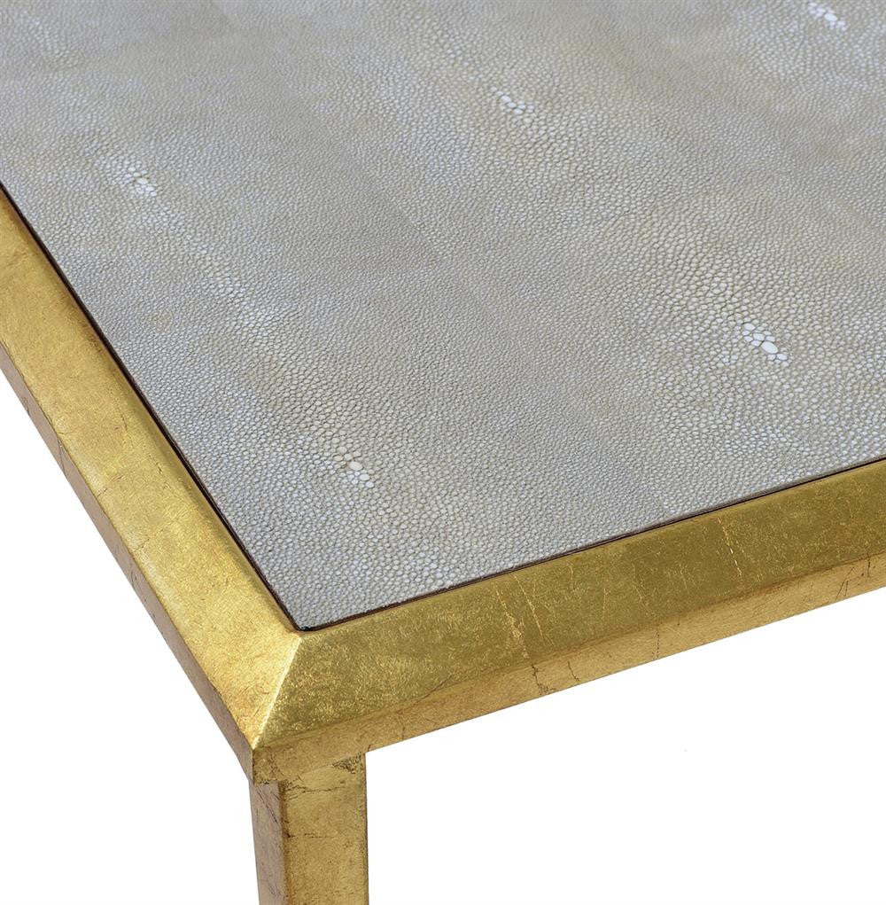 Oxford Shagreen Drink Table in Gold Leaf