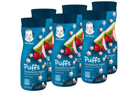 Gerber Puffs Cereal Snack, Strawberry Apple, 6 Count