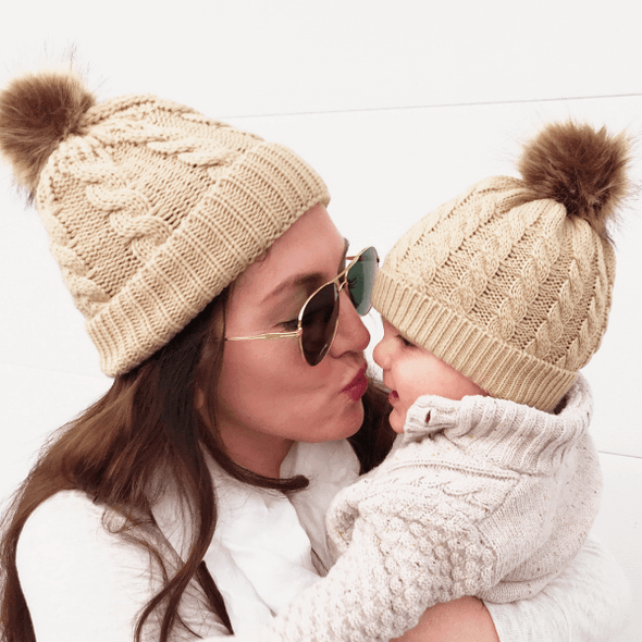 Mom and Me Beanie - Khaki