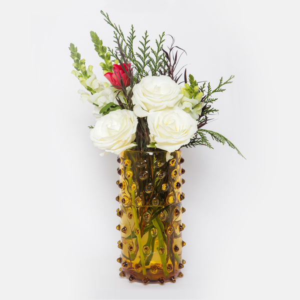 Amber Color Hobnail Vase