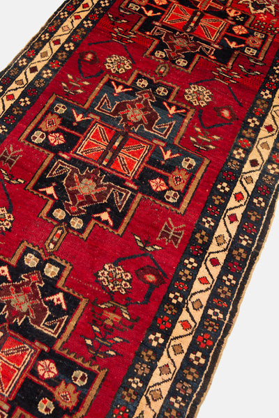 Vintage Hand Knotted Gharajeh Persian Rug