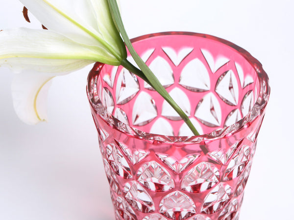 Bohemian Pink Cut to Clear Crystal Vase