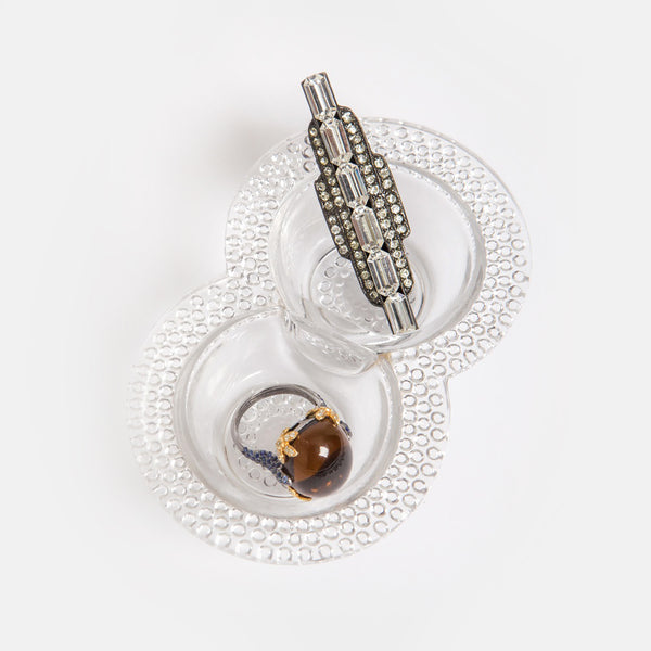 Clear Glass Hobnail Jewelry Holder