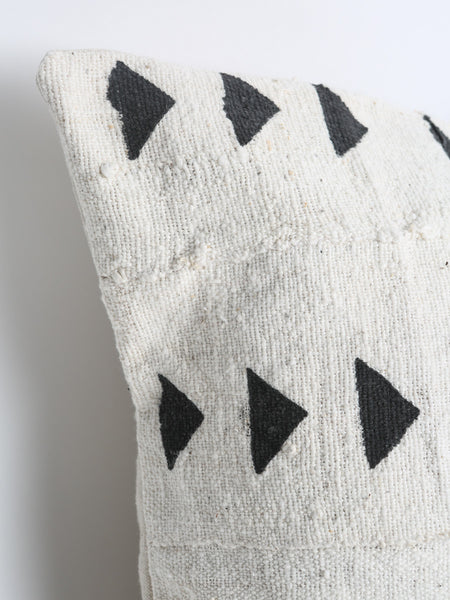 Authentic Natural Off White and Black African Mud Cloth Textile Pillow Cover