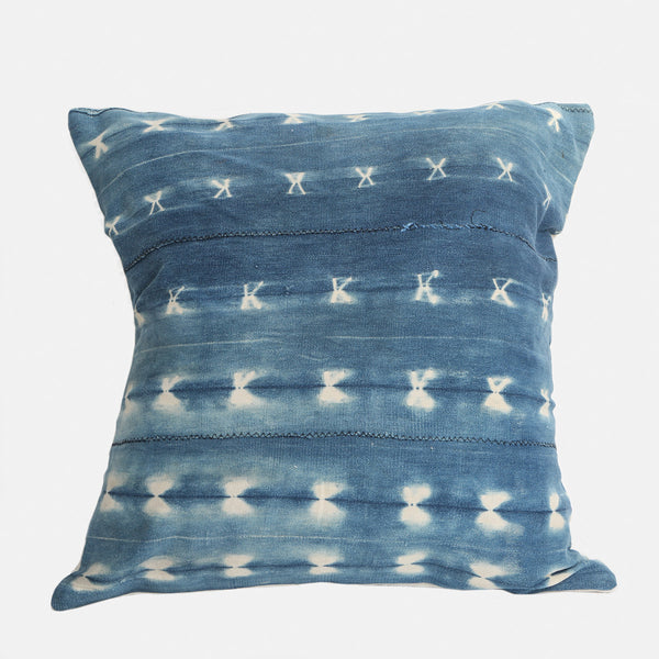 Authentic Indigo African Mud Cloth Textile Pillow Case