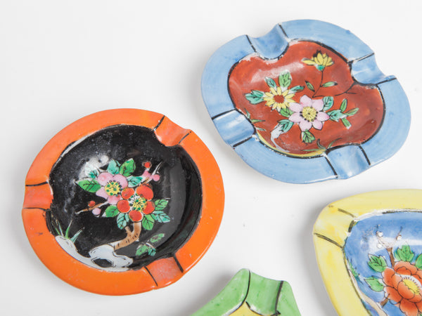 Set of Four Hand Painted Japanese Ashtrays
