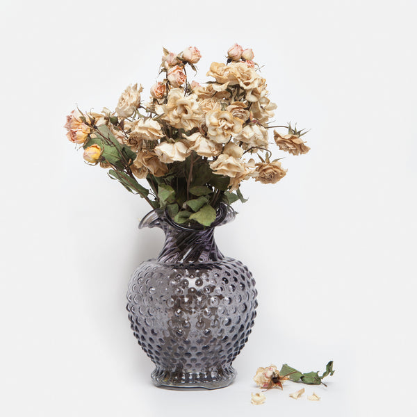 Grey Hobnail Glass Vase
